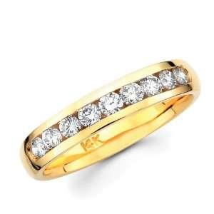 Round Diamond Wedding Ring 14k Yellow Gold Anniversary Band (1/3 Carat