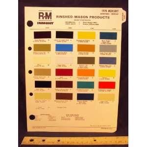 1970 MERCURY Montego & Cougar Paint Colors Chip Page Ford