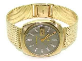 Mens 14kt Gold Bulova Accutron N1 Day Date Diamond Dial Bracelet 2182
