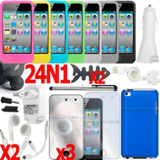 BLUE HARD BACK CASE COVER MIRROR SCREEN PROTECTOR FOR APPLE IPOD TOUCH