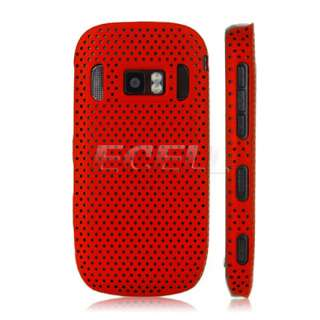 NEW RED PERFORATED MESH HARD BACK CASE COVER FOR NOKIA 701