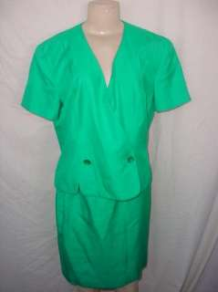 Papell Womens Green Skirt Suit  Size 12  Career/Holidays Nice