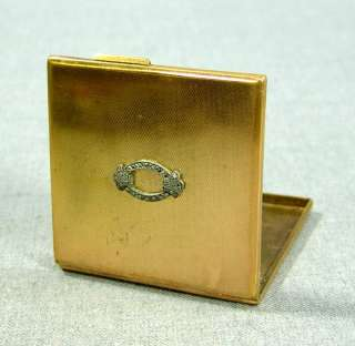 GOLD PLATE&MARCASITE POWDER MIRROR COMPACT BOX LADY TOILET CASE