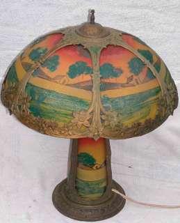 Art Nouveau Reverse Painted Scenic Rib Panel Glass Lamp & Base 18x24