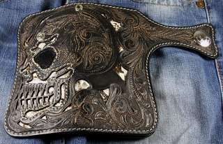 RUGGED GODLY RIDER BLACK SKULL CARVED LEATHER WALLET