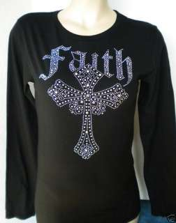 RHINESTONE TOP FAITH CROSS LS T SHIRT S M L XL 2XL NEW