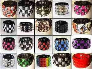 Gothic Punk Rock EMO Pyramid Bracelet Wristband 80S PU Leather (NEW