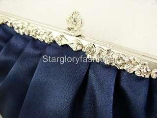 Victoria Jeweled Navy Blue Satin Wedding Purse Clutch
