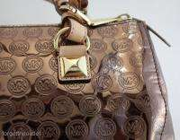 Michael KORS Grayson COCOA Mirror Monogram LARGE SATCHEL Bag $298