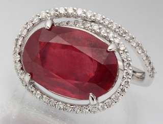 STUNNING GENUINE RED RUBY & DIAMOND 14K W GOLD RING NEW