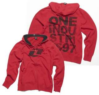 One Industries Mens GRITTY Zip Hoodie Sweatshirt Red New 2011