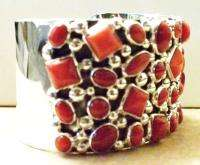 Native American Bracelet NAKAI Jewelry Sterling Silver & Red Coral