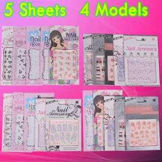 NICE 5PCS NAIL ART PER MODEL FLOWER AND BUTTERFLY RHINESTONES DECAL