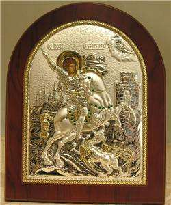 Wood Wall Silver Icon Saint St George Horse Jeweled WOW