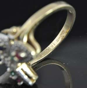 Vtg Hanae Mori 14K Gold Diamond Sapphire Butterfly Ring