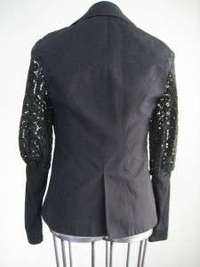 Anne Fontaine Stunning Charlottine Black Crochet Sleeve Jacket Blazer