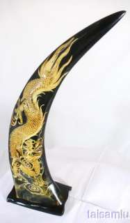 DRAGON sculpture carved buffalo black horn H16a