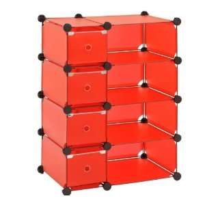 Sandusky Lee MSCD 8RD Red Steel Modular Cube with Drawers Storage