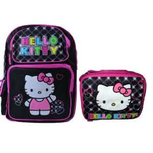 Hello Kitty Black LARGE Backpack Bag Tote 16 Luggage and