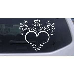 Heart with Flowers And Vines Car Window Wall Laptop Decal Sticker