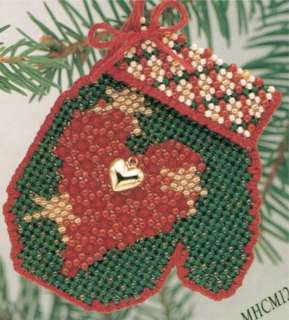 Holiday Heart Bead Cross Stitch Kit Mill Hill 2004 Mitten Ornaments