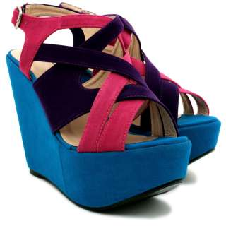 NEW WOMENS SUEDE STYLE WEDGE HEEL BLOCK COLOUR PLATFORM SHOE SANDALS