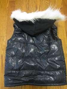 NWT TCP The Childrens Place Girls Puffer VEST Coat Fur hood sz 5/6 7/8