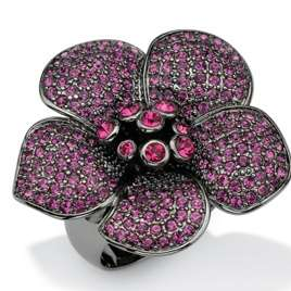 Pave Of Purple Round Crystals On Black Ruthenium Flower Ring