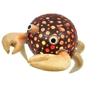 Natural Coconut Shell Sand Crab Accent Lamp Night Light