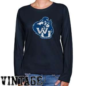 Washburn Ichabods Ladies Navy Blue Distressed Logo Vintage Long Sleeve