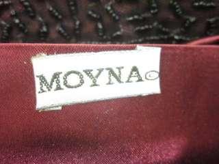 MOYNA Maroon Black Beaded Small Tote Handbag