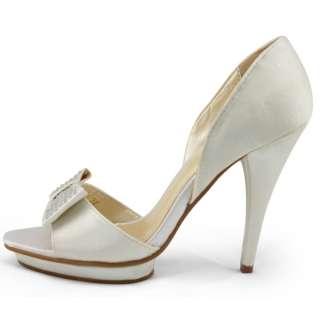 wedding ivory satin rhinestones bow high heels platform shoes