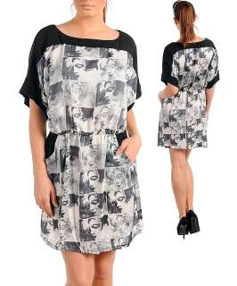 Marilyn Monroe Screen Warhol Print Tunic Top Dress 1X 2X 3X Black