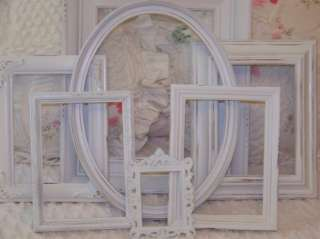 VTG PICTURE FRAME LOT SHABBY COTTAGE CHIC WHITE FRENCH COUNTRY ORNATE