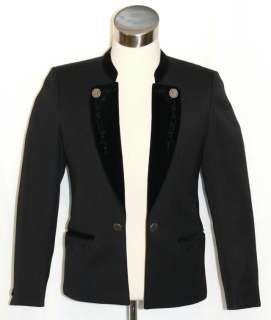 BLACK ~ WOOL Men GERMAN Dinner Dress Velvet Suit JACKET Over Coat/46