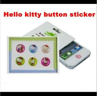 6pcs hello kitty Home button stickers for iPhone 4 4s 3g 3gs iTouch