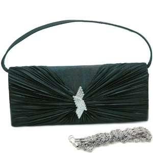 Black Pleated flap evening bag clutch w/ rhinestone brooch