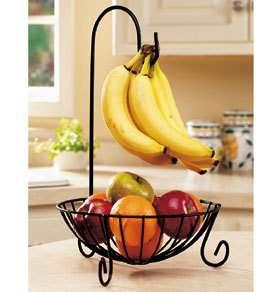 modern black iron scroll Fruit basket bowl w/ removable Banana hanging