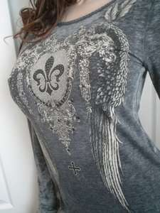 Cowgirl Tribal Cross Angel Wings Studs Fleur De Lis Tee T Shirt