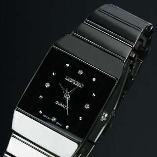 Classic LUXURY Crystal Black Style Stainless Steel Fashion Man Mens