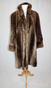 LUXE ~ VTG Genuine SHEARED MUSKRAT Brown FULL LENGTH FUR COAT jacket M