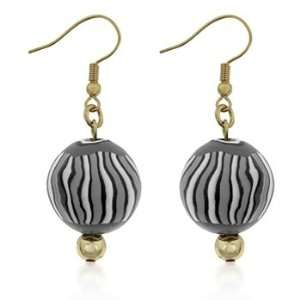 14K Gold Bonded Dangle Earrings with White and Black Beads