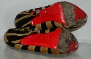 sz 41 9.5 auth designer CHRISTIAN LOUBOUTIN tiger animal print fur