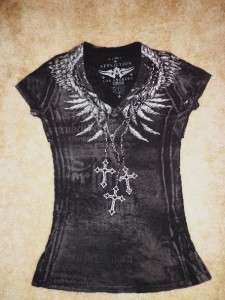 Buckle Store AFFLICTION Los Angeles Studded Chain Print Back Wings T