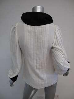 Rodriguez White Black Trim/Button Detail Pleated Long Sleeve Blouse 2