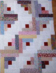Log Cabin Super Scrappy Floral Quilt Top KIT 12 Blocks