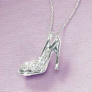 White Gold Diamond Accented High Heel Shoe On Fine Necklace Jewelry