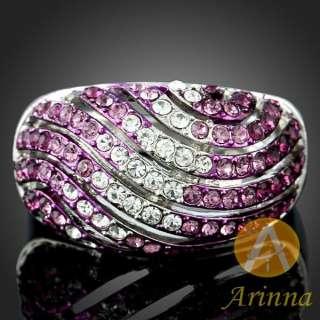 18k gold GP 7 purple wavy lines Swarovski Crystal Rings