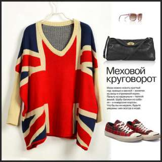 SP63 Ladies Classic Bat Sleeves British Flag Sweaters Jumpers