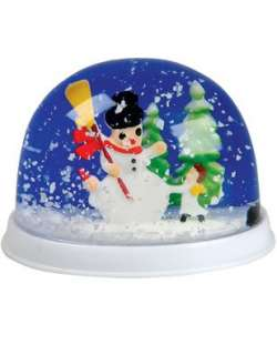 New 2 Christmas Holiday Ornament Snowman Snow Globe